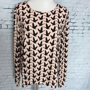H&M Women's Long sleeve Shirt Pink Black Fly Geese